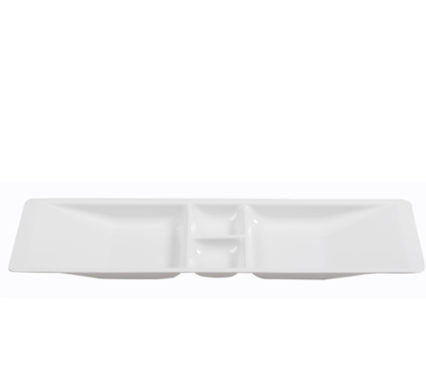 BSW0018.2DIV - Buffet Platter with Double Dip White 730x115x30mm