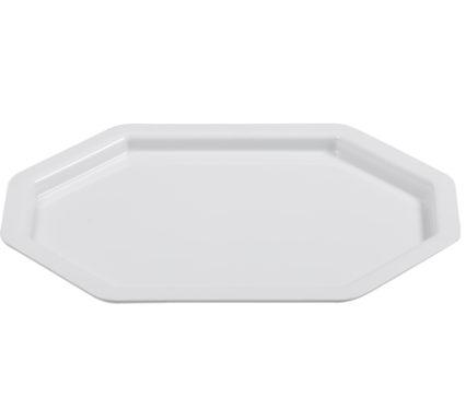 BSW0150 - Octagonal rectangular Tray ;Platter White (425x310x20mm)