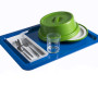Blue Serving tray with: Acrylic Clear Whiskey glass 300ml Green Insulated Base and Dome for 23cm Plate  Cutlery & Condiment holder - Cuisine cutlery